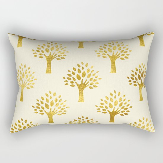 Cream Gold Foil 02 Rectangular Pillow