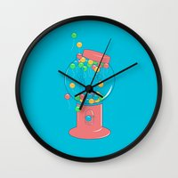 gumball Wall Clocks featuring Balloon, Gumball by Ava Guerrero