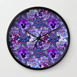 BLUE GEOMETRIC LILAC PURPLE PANSIES GARDEN ART Wall Clock