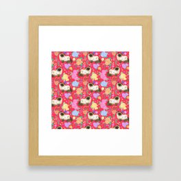 Ragdoll cat pattern in cherry red Framed Art Print