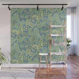 Blue and Gold Paisley Wall Mural