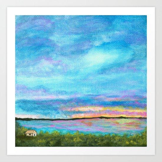 Good Morning, Beach House Sunrise Art Print