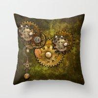 wall clock Throw Pillows featuring Clock Wall 2 by Deborah DaNaan