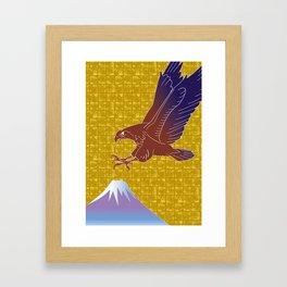 Eagle and Mt,Fuji on Gold-leaf Screen Framed Art Print