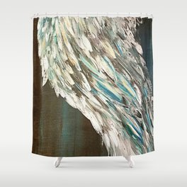 Vintage Angel Wing Up High - Left Shower Curtain