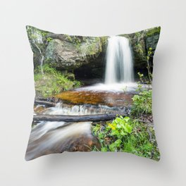 Scott Falls in Spring - Au Train Michigan Throw Pillow