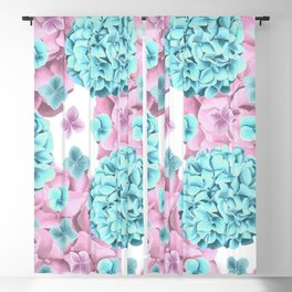 Modern girly pink teal watercolor hortensia pattern Blackout Curtain