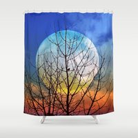 stiles stilinski Shower Curtains featuring The moonwatcher by Pirmin Nohr
