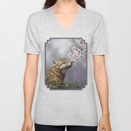 Wolf Pup and Spring Blossoms Unisex V-Neck