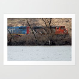 Train by River in late fall Art Print