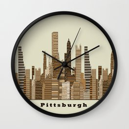 Pittsburgh skyline vintage Wall Clock