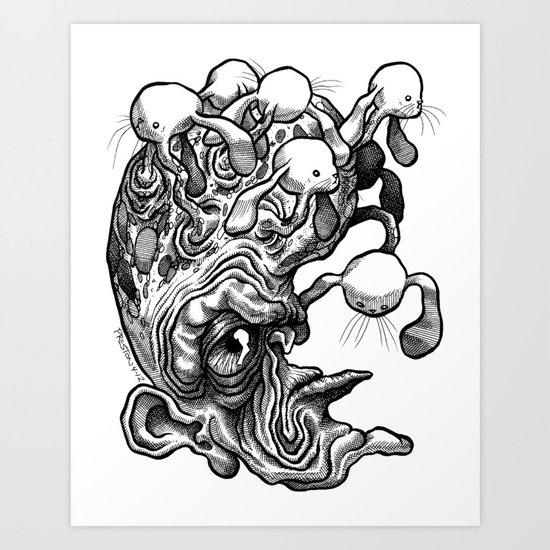 Bunny Heads Art Print