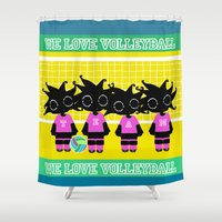 volleyball Shower Curtains featuring We love Volleyball by BLOOP