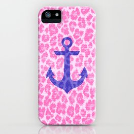 Hipster Blue Nautical Anchor Pink Leopard Pattern iPhone Case
