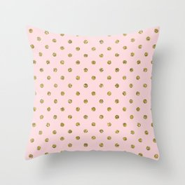 Pink & Gold Glitter Polka Dots Throw Pillow