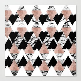 Modern Black White Rose Gold Triangles on Marble Canvas Print