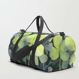 Clover Watercolor Four Leaf Clover Painting Lucky Charm Pattern Duffle Bag
