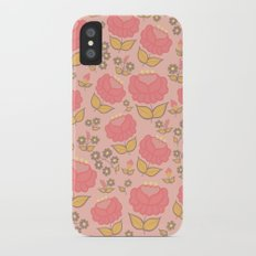 Retro floral - red, light pink, mustard iPhone X Slim Case