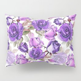 Violet lilac pink watercolor botanical roses floral Pillow Sham