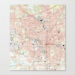 Tallahassee Florida Map (1999) Canvas Print