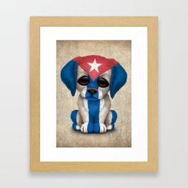 Cute Puppy Dog with flag of Cuba Framed Art Print