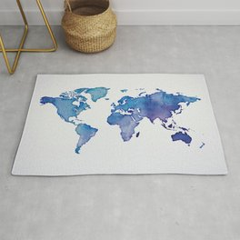 Blue World Map 02 Rug