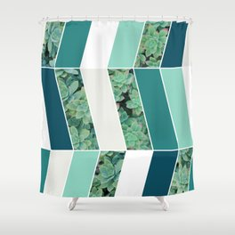 Teal Herringbone #society6 #teal #succulent Shower Curtain