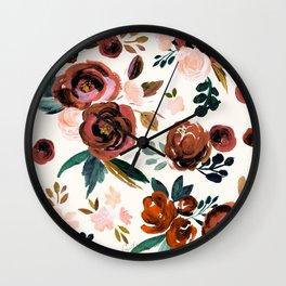 Valentina Vintage Rust Rose Wall Clock