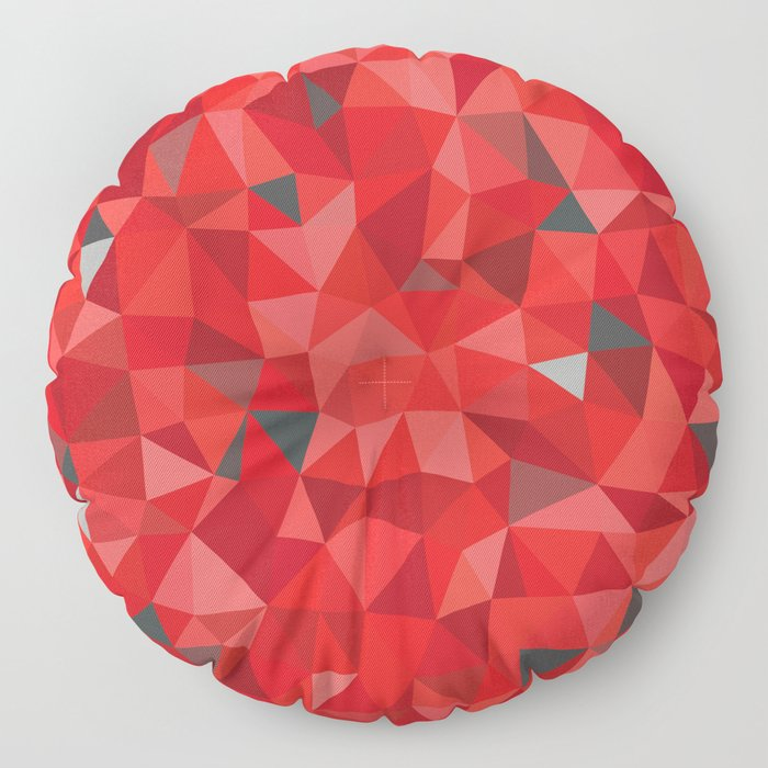 Red and gray triangular pattern - triangles mosaic Floor Pillow