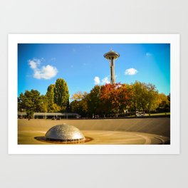 Space Needle with autumn hues Art Print