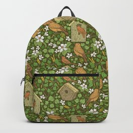 Birds in birdhouses with white apple blossom on brown background Backpack