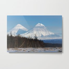 Winter scenery view of volcanoes on clear sunny day with blue sky on Kamchatka Peninsula Metal Print