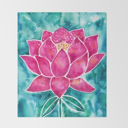 Sacred Lotus – Magenta Blossom with Turquoise Wash Throw Blanket