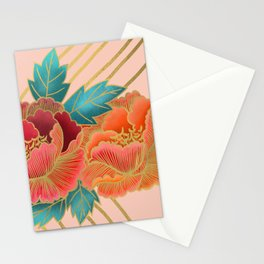 Peonies and Gold Stripes - Pink and Orange Stationery Cards