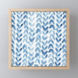 Blue Chevron Watercolour Framed Mini Art Print