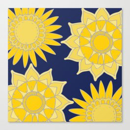 Sunshine yellow navy blue abstract floral mandala Canvas Print