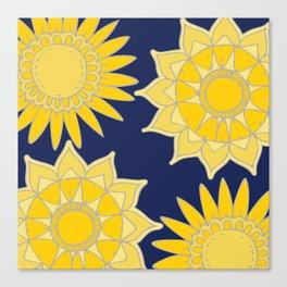 Sunshine yellow navy blue abstract floral mandala Canvas Print