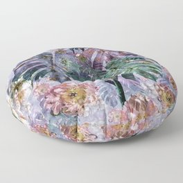 Tropical flowers and leaves Floor Pillow