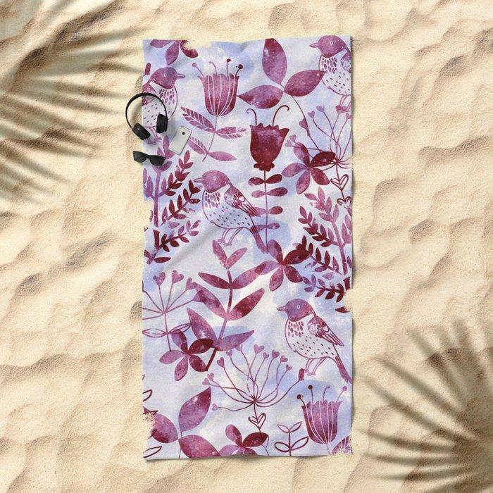 Watercolor Botanical Garden V Beach Towel