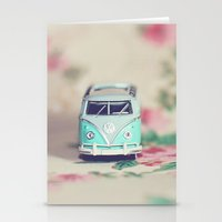 volkswagon Stationery Cards featuring Aqua VW Bus with Roses by Anna Dykema Photography