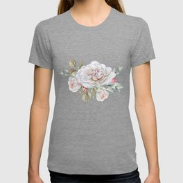 Watercolor White Rose Sprig T-shirt