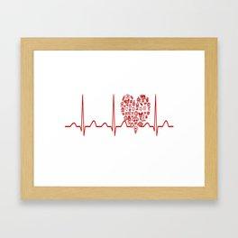 Kindergarten Teacher Heartbeat Framed Art Print