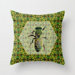 BEE GREEN Throw Pillow
