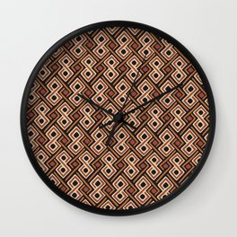 African Kuba Cloth Pattern Wall Clock