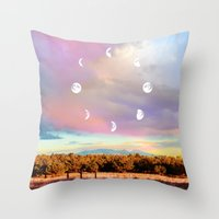 moon phases Throw Pillows featuring Moon Phases by LoveFreeMovement
