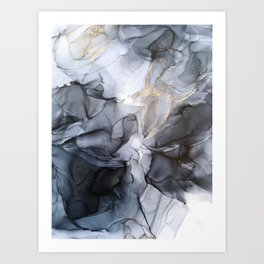 Calm but Dramatic Light Monochromatic Black & Grey Abstract Art Print
