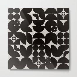 Black & White Mid Century Modern Pattern Metal Print