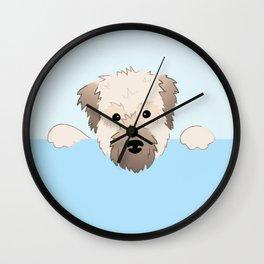 peeking pup. Wall Clock