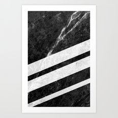 Black Striped Marble Art Print
