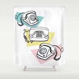 Retro phones Shower Curtain